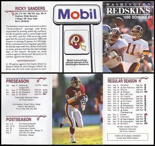 Ricky Sanders 1990 Mobil Redskins Schedule