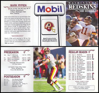 Mark Rypien 1990 Mobil Redskins Schedule