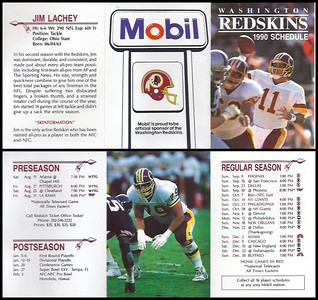 Jim Lachey 1990 Mobil Redskins Schedule