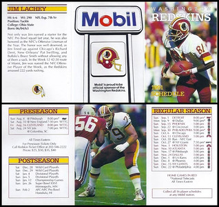Jim Lachey 1991 Mobil Redskins Schedules