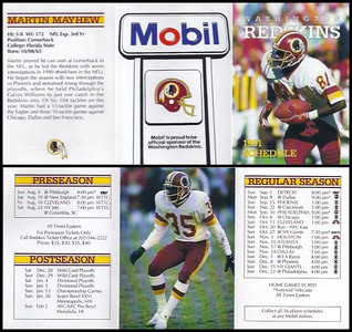 Martin Mayhew 1991 Mobil Redskins Schedules
