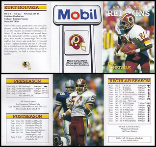 Kurt Gouveia 1991 Mobil Redskins Schedules