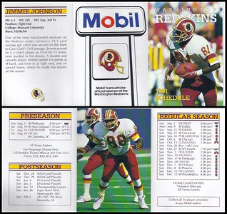 Jimmie Johnson 1991 Mobil Redskins Schedules