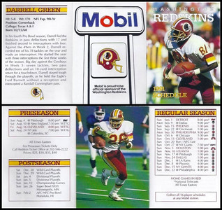 Darrell Green 1991 Mobil Redskins Schedules