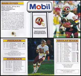 Mark Rypien 1991 Mobil Redskins Schedules