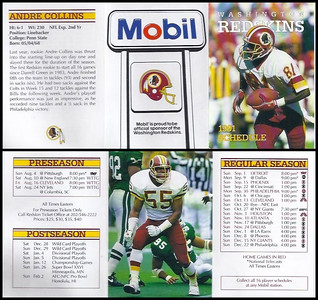 Andre Collins 1991 Mobil Redskins Schedules
