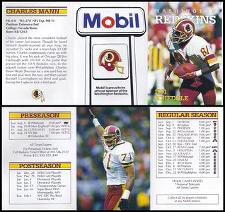 Charles Mann 1991 Mobil Redskins Schedules