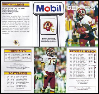 Eric Williams 1991 Mobil Redskins Schedules