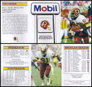 Art Monk 1991 Mobil Redskins Schedules