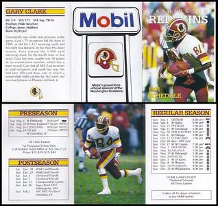 Gary Clark 1991 Mobil Redskins Schedules