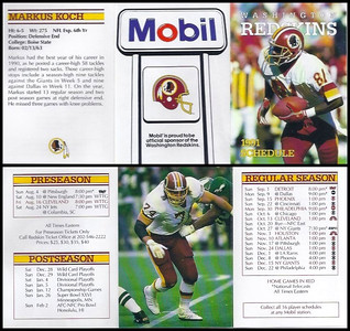 Markus Koch 1991 Mobil Redskins Schedules