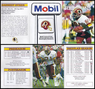 Earnest Byner 1991 Mobil Redskins Schedules