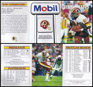Chip Lohmiller 1991 Mobil Redskins Schedules