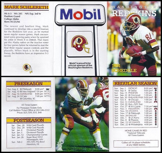 Mark Schlereth 1991 Mobil Redskins Schedules