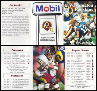 Joe Jacoby 1992 Mobil Redskins Schedules