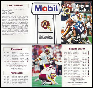 Chip Lohmiller 1992 Mobil Redskins Schedules