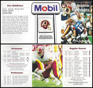 Ron Middleton 1992 Mobil Redskins Schedules