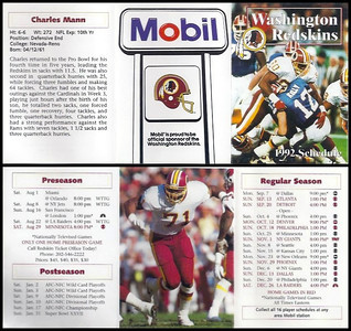 Charles Mann 1992 Mobil Redskins Schedules
