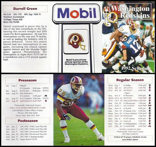 Darrell Green 1992 Mobil Redskins Schedules