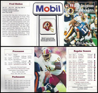Fred Stokes 1992 Mobil Redskins Schedules