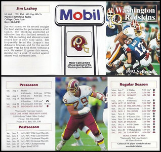 Jim Lachey 1992 Mobil Redskins Schedules