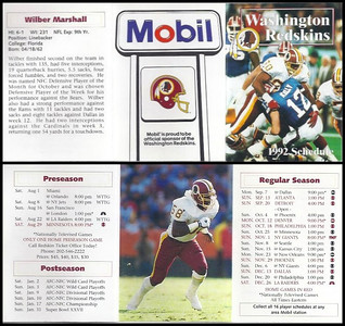Wilber Marshall 1992 Mobil Redskins Schedules