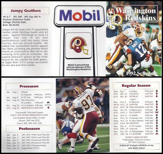 Jumpy Geathers 1992 Mobil Redskins Schedules