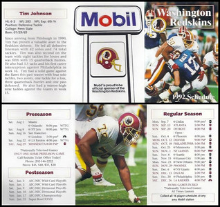 Tim Johnson 1992 Mobil Redskins Schedules