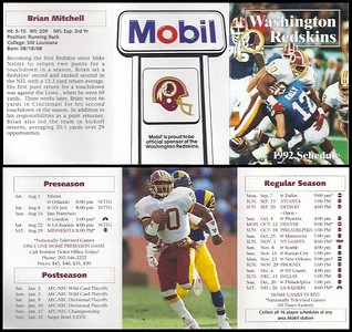Brian Mitchell 1992 Mobil Redskins Schedules
