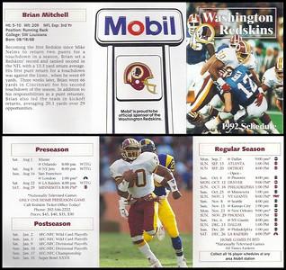 Brian Mitchell 1992 Mobil Redskins Schedules