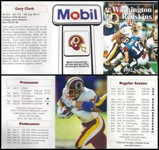 Gary Clark 1992 Mobil Redskins Schedules
