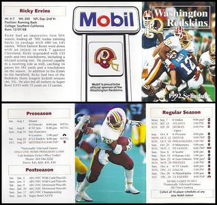 Ricky Ervins 1992 Mobil Redskins Schedules