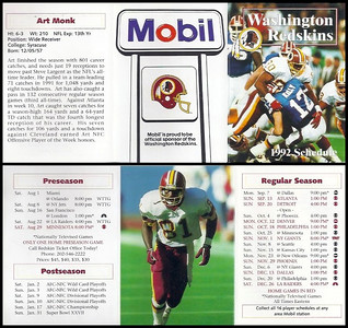 Art Monk 1992 Mobil Redskins Schedules