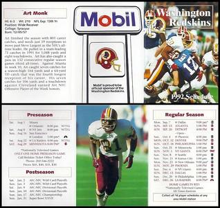Art Monk 1992 Mobil Redskins Schedules