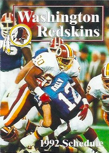 1992 Mobil Redskins Schedules Cover