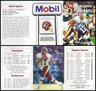 Mark Rypien 1992 Mobil Redskins Schedules