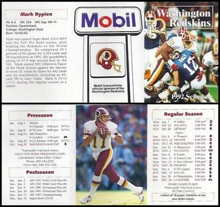 Mark Rypien 1992 Mobil Redskins Schedules