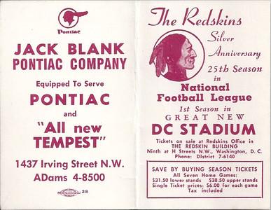 1961 Blank Pontiac Redskins Schedule
