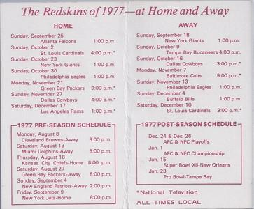 1977 National Pipe Redskins Schedule Back