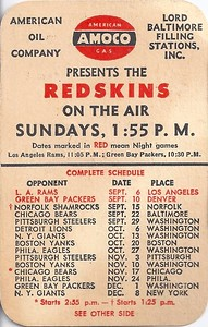 1946 Amoco Redskins Schedule