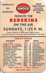 1946 Amoco Redskins Schedule