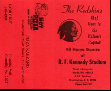 1977 Pizza Kaezano Redskins Schedule