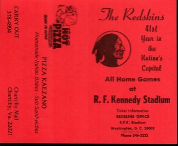 1977 Pizza Kaezano Redskins Schedule