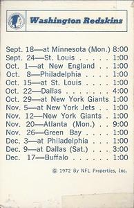 1972 NFLP Redskins Schedule