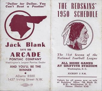 1950 Blank Pontiac Redskins Schedule