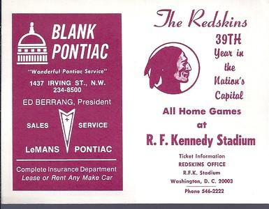 1975 Blank Pontiac Redskins Schedule