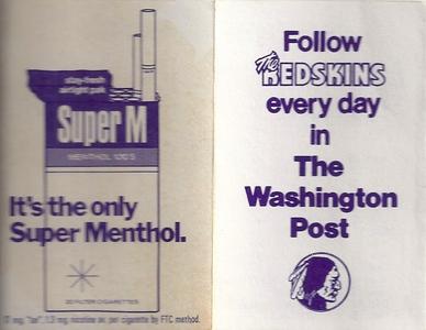 1974 Washington Post Redskins Schedule