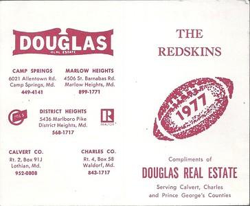1977 Douglas Real Estate Redskins Schedule