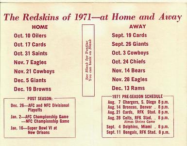 Blank Pontiac 1971 Redskins Schedule