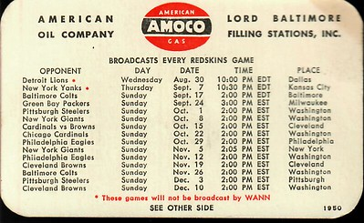 1950 AMOCO Redskins Schedule